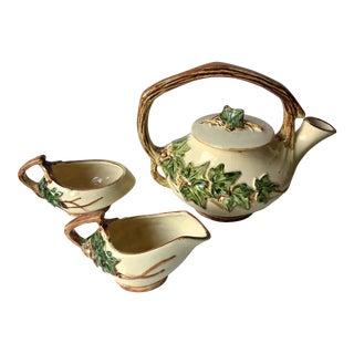 Antique McCoy Tea Pot, Cream Pitcher, Sugar Bowl