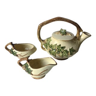 Antique McCoy Tea Pot, Cream Pitcher, Sugar Bowl