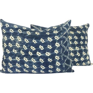 Vintage African Indigo Batik Pillows - A Pair