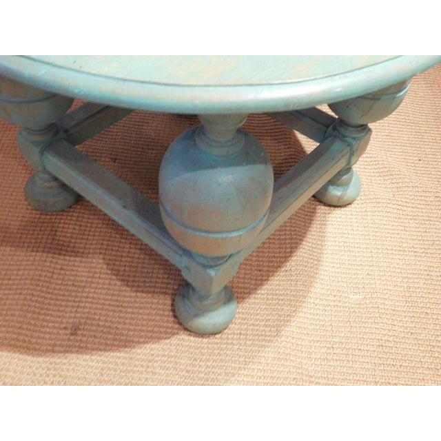 Image of Painted Turquoise Table With Gold Glaze
