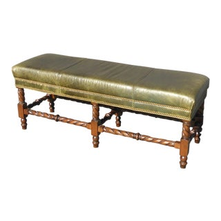 Vintage Hancock & Moore Barley Twist Spanish Moss Green Leather Exton Bench
