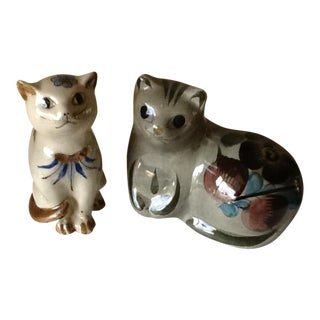 Vintage Mexican Tonala Pottery Cats - A Pair