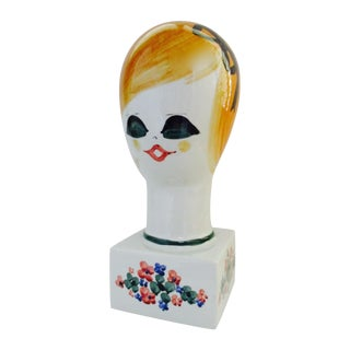 1960s Italian Ceramic Pottery Mannequin Head