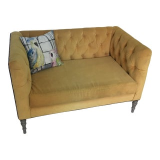 Yellow Tufted Loveseat With Birds