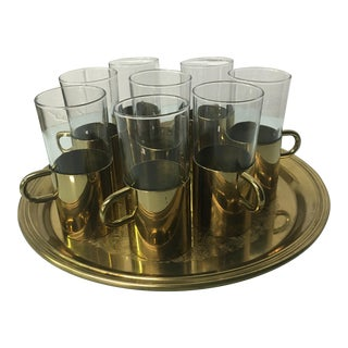 Turkish Coffee Glasses With Tray - Set of 8
