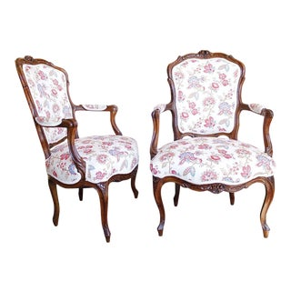 18th Century French Provincial French Louis XV Fauteuil Arm Chairs - a Pair