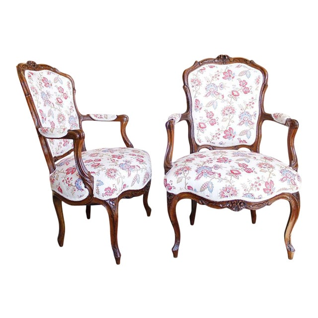 18th Century French Provincial French Louis XV Fauteuil Arm Chairs - a Pair - Image 1 of 10
