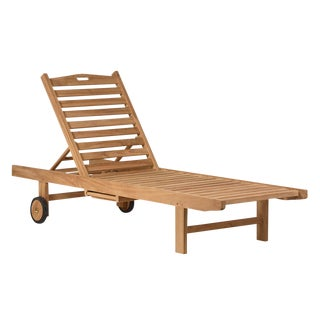 Teak Outdoor Reclining Lounge Chair