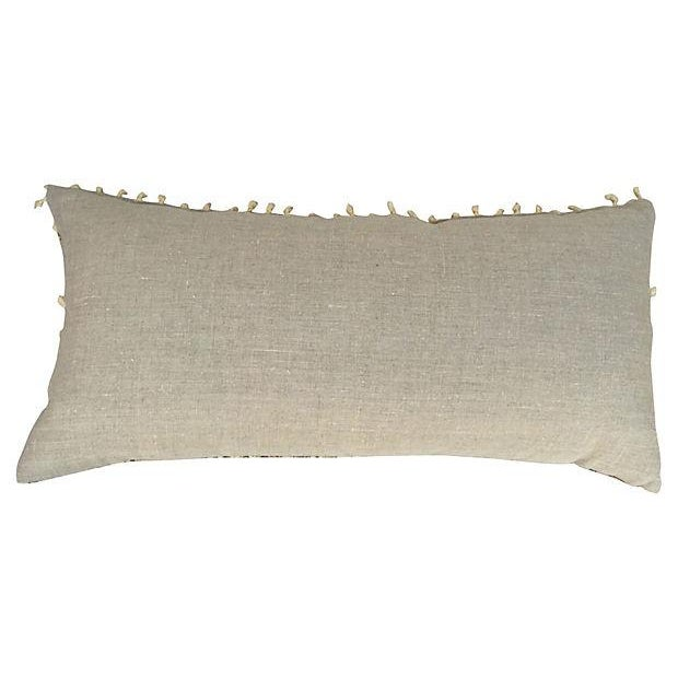 Hand-Blocked Indian Fringed Body Pillow - Image 4 of 5
