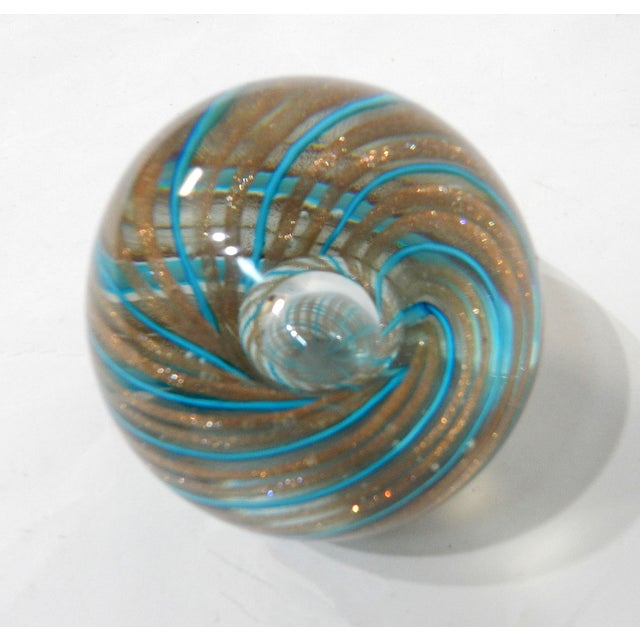 Image of Hand-Blown Murano Blue & Gold Paperweight