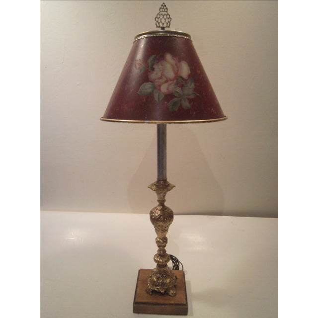 Image of Silver & Gold Leaf Candlestick Lamp