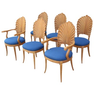 Shell Motif Dining Chairs with Blue Upholstery - Set of 6