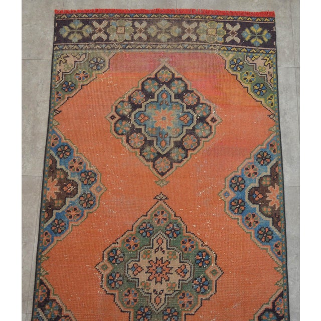 "Distressed Oushak Rug Runner Salmon Hallway Decor - 3' x 10'9"" - Image 5 of 10"