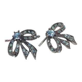 Pomé Blue Rhinestone Ribbon Cufflinks