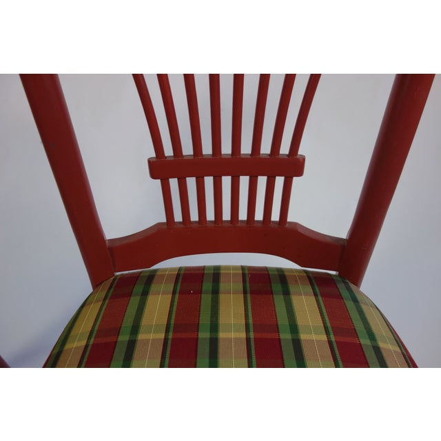 Image of Red Bar Stools With Gingham Upholstery - Set of 4