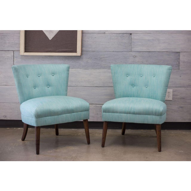 Aqua Tweed MCM Low Profile Slipper Chairs - Pair - Image 3 of 9