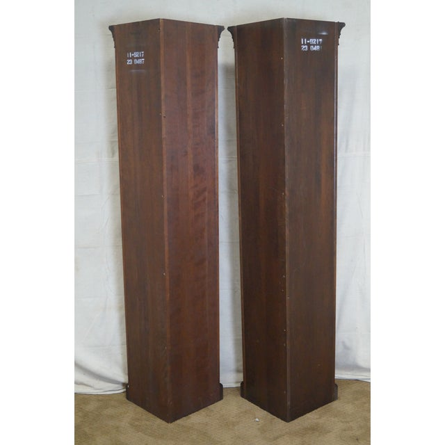 Image of Ethan Allen Georgian Court Solid Cherry Narrow Corner Cabinets - a Pair