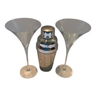 Martini Glasses & Stainless Steel Cocktail Shaker - Set of 3