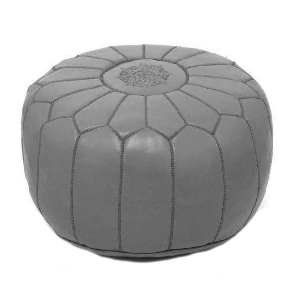 Gray Moroccan Leather Pouf - Image 1 of 3