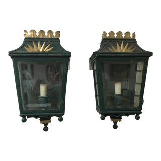 Green & Gold Deco Wall Lamps - A Pair