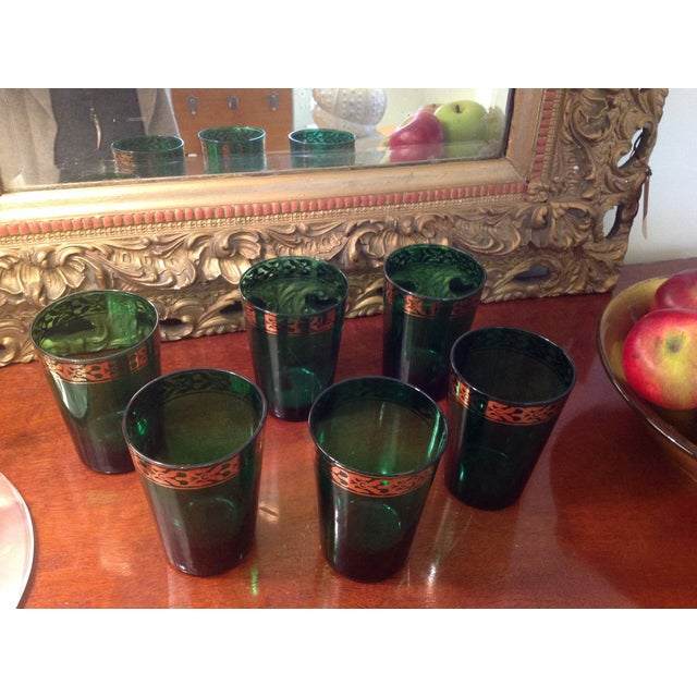 Vintage Green Glasses - Set of 6 - Image 4 of 4