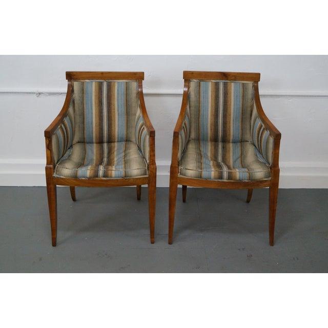 Antique Italian Walnut Klismos Arm Chairs - Pair - Image 2 of 9