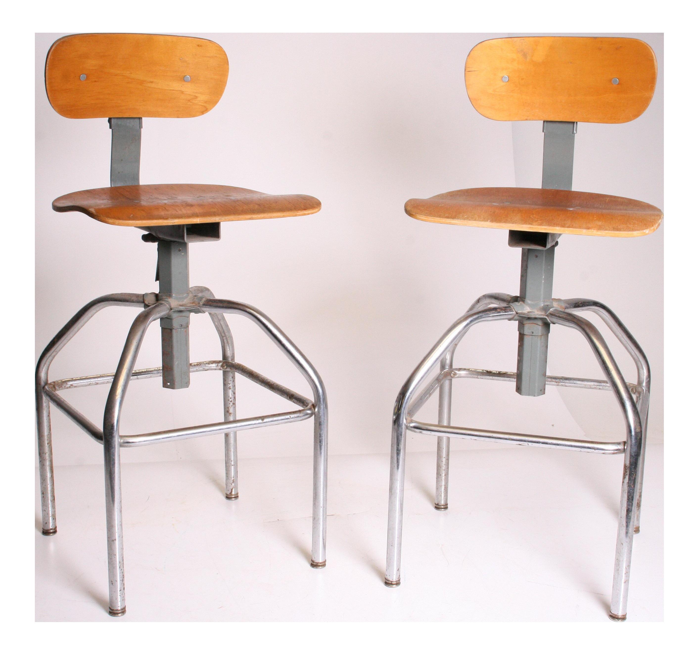 Wood Drafting Stool vintage & used bar stools   chairish
