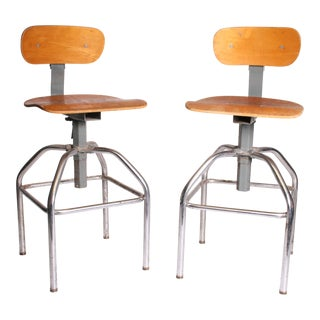 Vintage Industrial Gray Metal & Wood Drafting Stools - A Pair