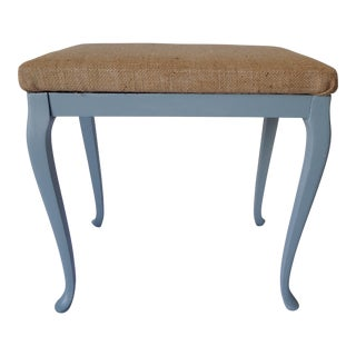 Country French Burlap Upholstered Bench