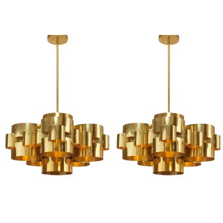 Curtis Jere Polished Brass 'Cloud' Form Chandeliers - a Pair