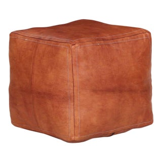 20th Century Stitched Leather Vintage Pouf Ottoman Footstool