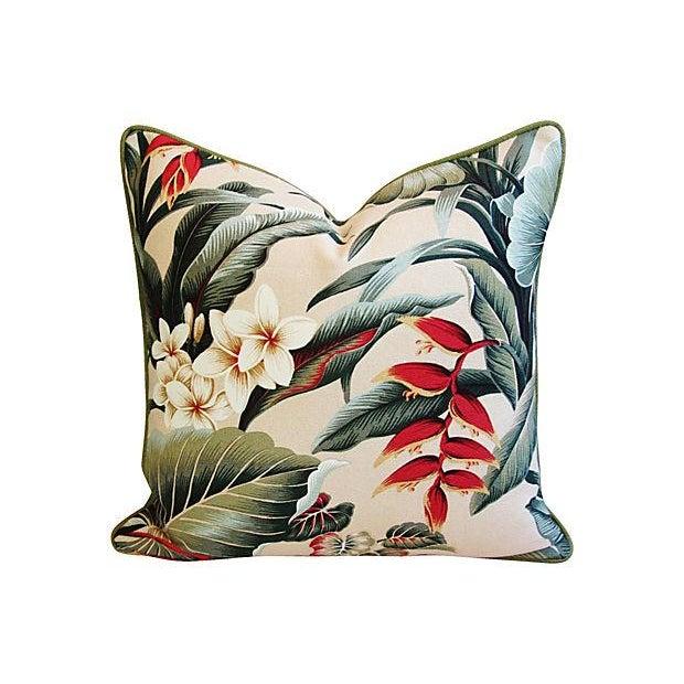 Lush Tropical Floral Barkcloth Pillows - Pair - Image 4 of 7
