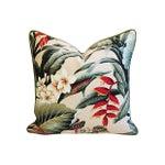 Image of Lush Tropical Floral Barkcloth Pillows - Pair