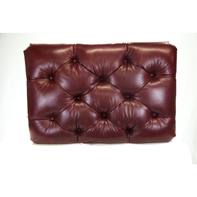Image of Oxblood Tufted Leather Ottoman