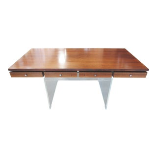 Vintage Mid-Century Modern Rosewood Acrylic Desk by Poul Norreklit