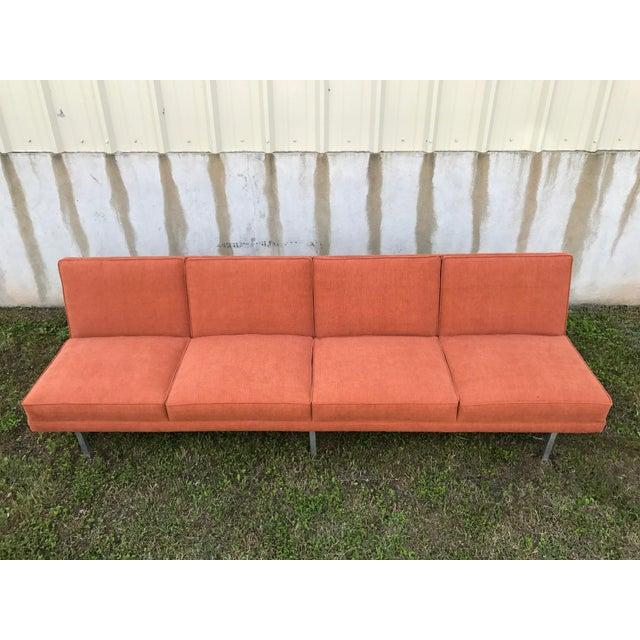 Orange Mid Century Sofa: Mid-Century Modern Florence Knoll-Style Orange Sofa