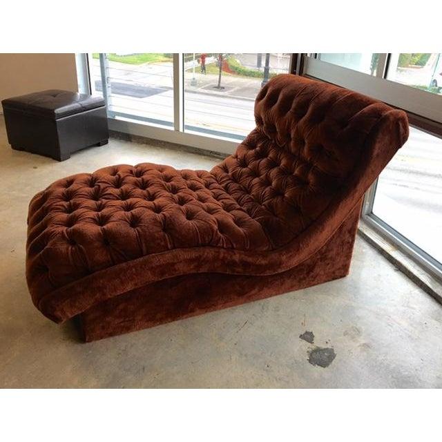 Image of Mid-Century Custom Tufted Brown Velvet Chaise