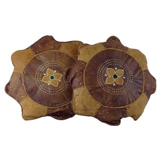 African Woven Leather Embroidered Pillows - A Pair