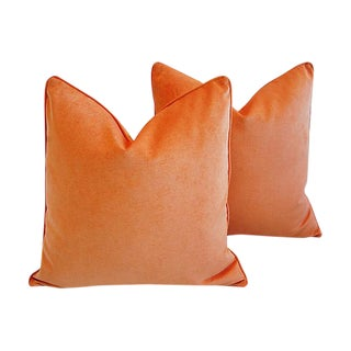 Tangerine Orange Velvet Feather/Down Pillows - Pair
