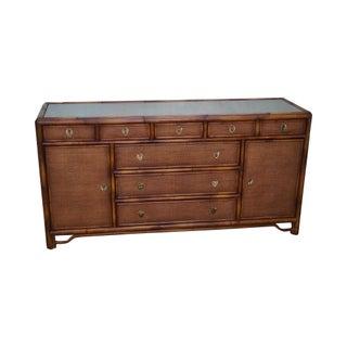 Bloomingdale's Burnt Bamboo & Rattan Dresser