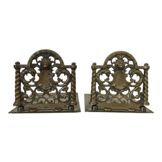 Brass Lion Head Bookends - A Pair