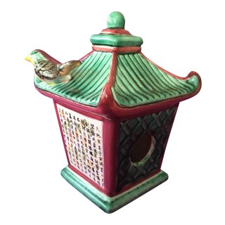 Ceramic Bird House With Bird