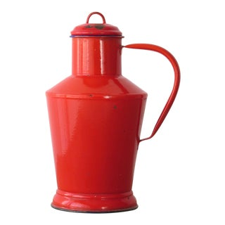 Vintage Red Enamelware Pitcher