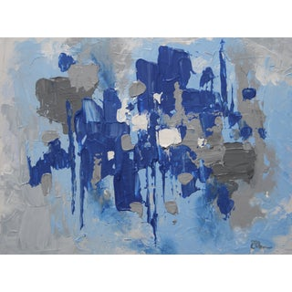 Blue and Gray Abstract Painting by Celeste Plowden