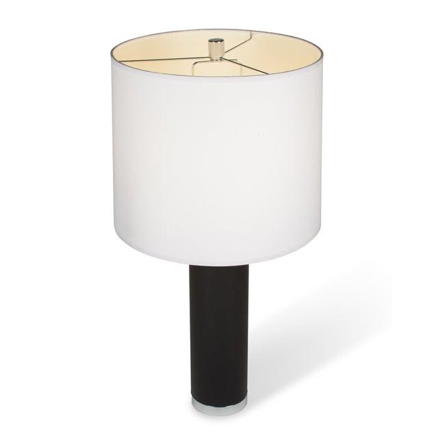 Ralph Lauren Black Leather & Chrome Table Lamp - Image 7 of 8