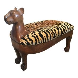Vintage 1950s Wooden Tiger Bench