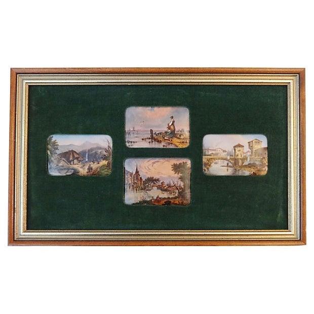 Handpainted Vignette Plaques of European Landscape - Image 1 of 8