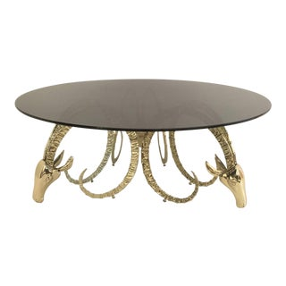 Brass Ibex Coffee Table in the Style of Chervet