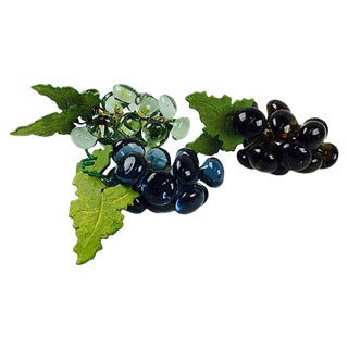Blue Glass & Ceramic Grape Clusters - Set of 3