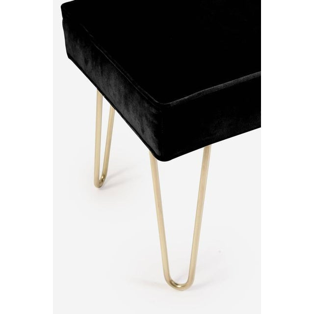 Image of Petite Brass Hairpin Ottomans in Noir Velvet by Montage
